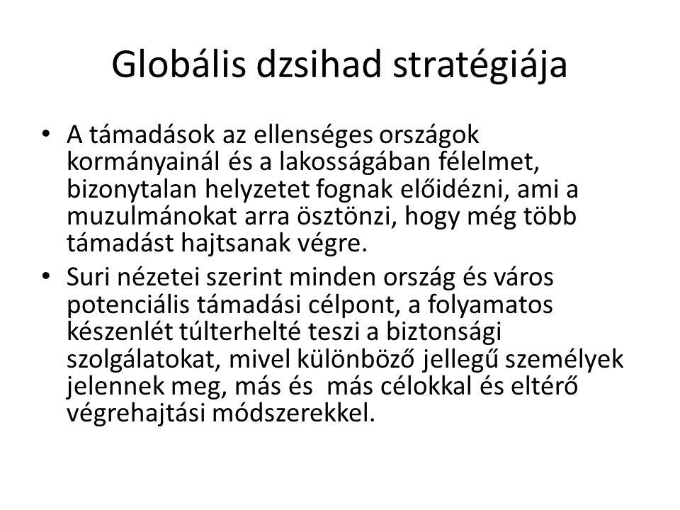 Globális dzsihad stratégiája A támadások az ellenséges országok kormányainál és a lakosságában félelmet, bizonytalan helyzetet fognak előidézni, ami a