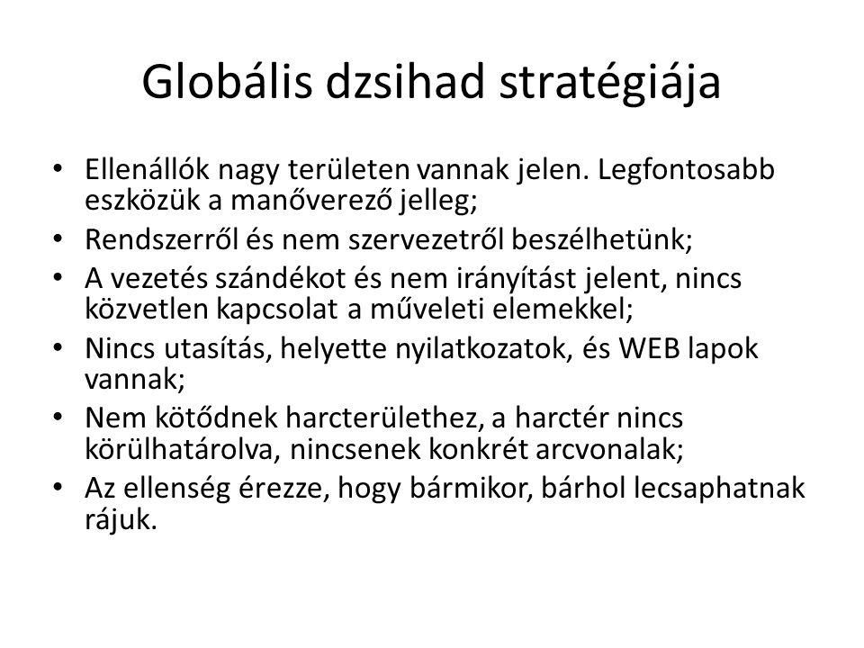 Globális dzsihad stratégiája Ellenállók nagy területen vannak jelen. Legfontosabb eszközük a manőverező jelleg; Rendszerről és nem szervezetről beszél