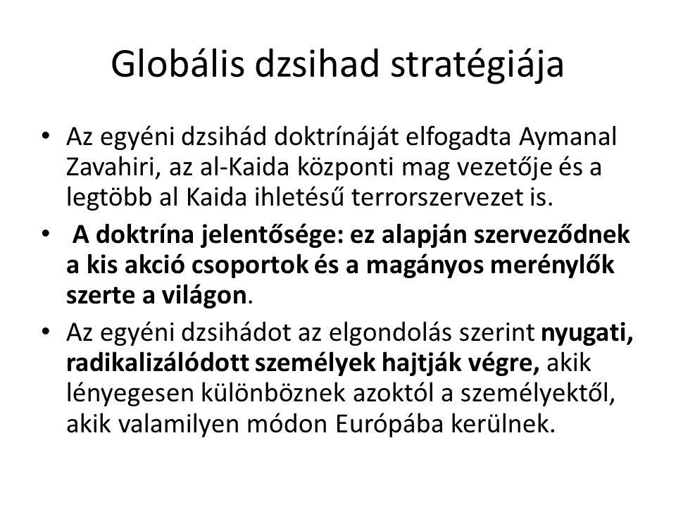 Globális dzsihad stratégiája Az egyéni dzsihád doktrínáját elfogadta Aymanal Zavahiri, az al-Kaida központi mag vezetője és a legtöbb al Kaida ihletésű terrorszervezet is.