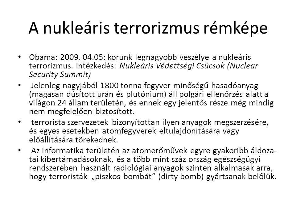 A nukleáris terrorizmus rémképe Obama: 2009. 04.05: korunk legnagyobb veszélye a nukleáris terrorizmus. Intézkedés: Nukleáris Védettségi Csúcsok (Nucl