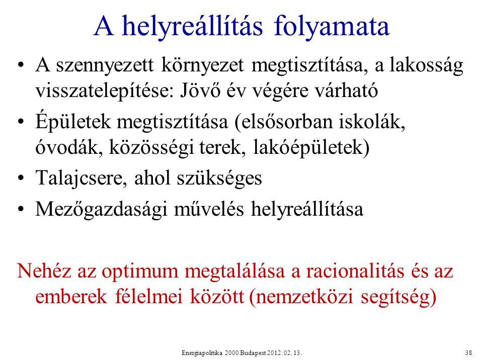 A helyreállítás folyamata A szennyezett környezet megtisztítása, a lakosság visszatelepítése: Jövő év végére várható Épületek megtisztítása (elsősorban iskolák, óvodák, közösségi terek, lakóépületek) Talajcsere, ahol szükséges Mezőgazdasági művelés helyreállítása Nehéz az optimum megtalálása a racionalitás és az emberek félelmei között (nemzetközi segítség) Energiapolitika 2000 Budapest 2012.