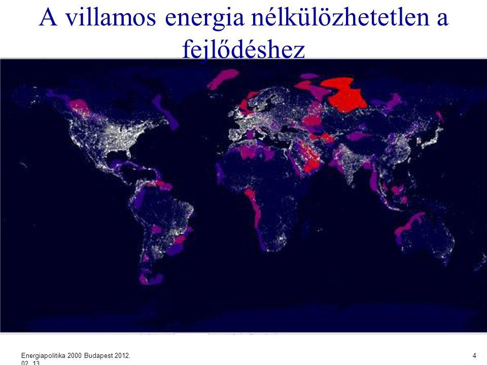 A villamos energia nélkülözhetetlen a fejlődéshez Energiapolitika 2000 Budapest 2012. 02. 13. 4