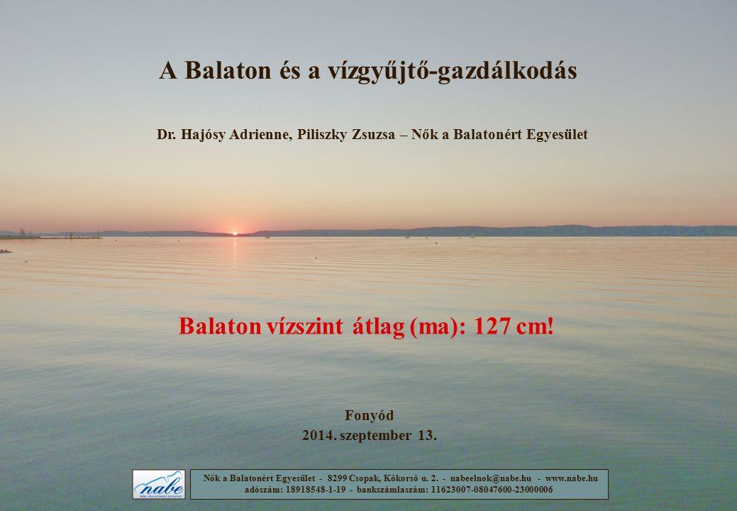 A Balaton és a vízgyűjtő-gazdálkodás Fonyód 2014. szeptember 13. Dr. Hajósy Adrienne, Piliszky Zsuzsa – Nők a Balatonért Egyesület Nők a Balatonért Eg