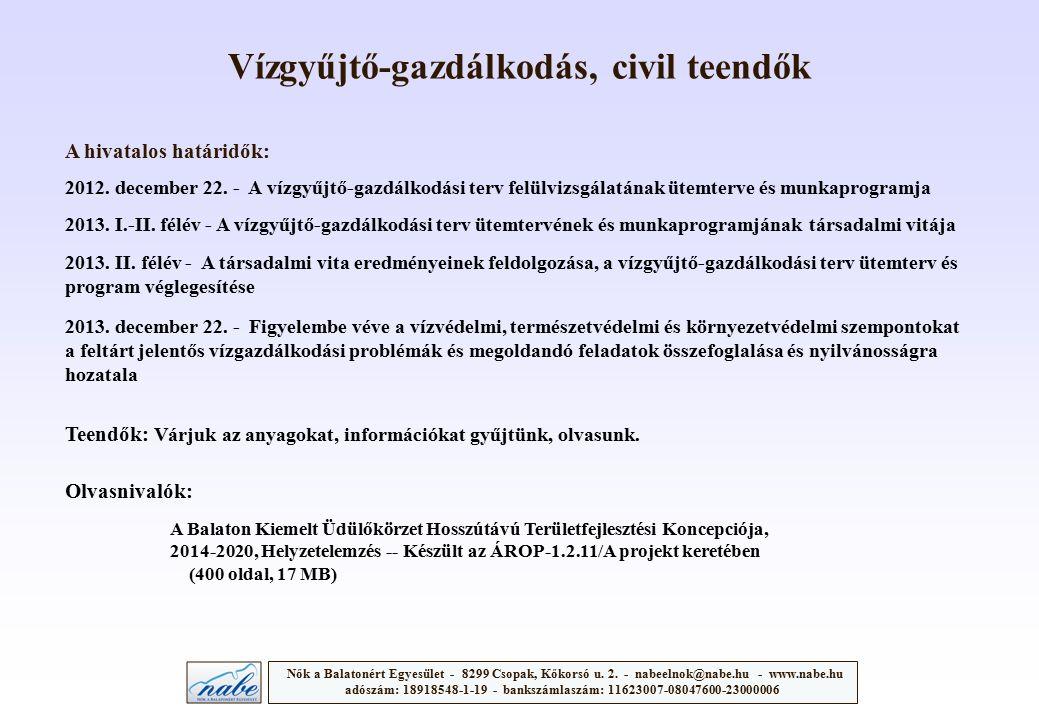 Vízgyűjtő-gazdálkodás, civil teendők A hivatalos határidők: Nők a Balatonért Egyesület - 8299 Csopak, Kőkorsó u. 2. - nabeelnok@nabe.hu - www.nabe.hu