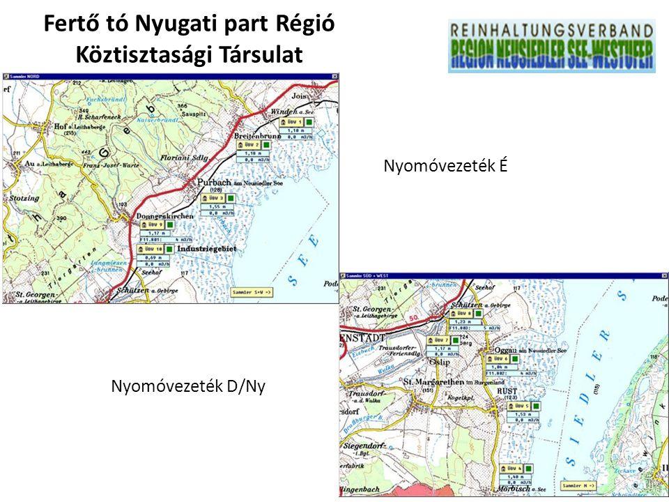 Nyomóvezeték É Nyomóvezeték D/Ny Fertő tó Nyugati part Régió Köztisztasági Társulat