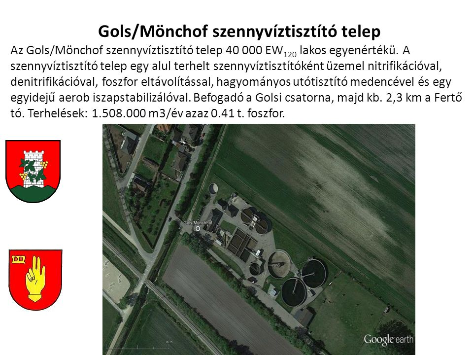 Gols/Mönchof szennyvíztisztító telep Az Gols/Mönchof szennyvíztisztító telep 40 000 EW 120 lakos egyenértékü. A szennyvíztisztító telep egy alul terhe