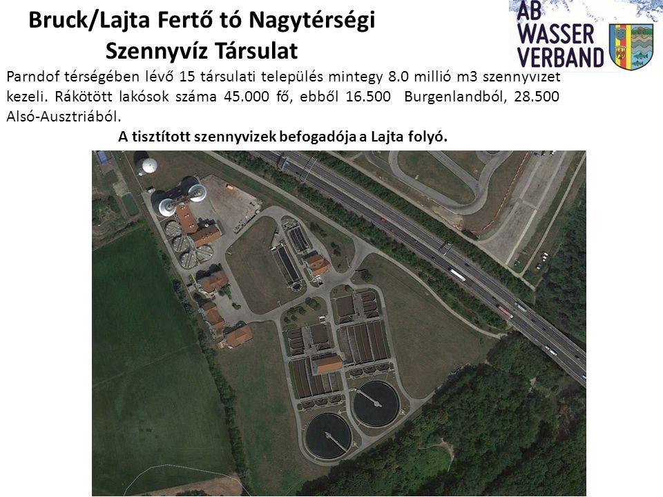 Bruck/Lajta Fertő tó Nagytérségi Szennyvíz Társulat Parndof térségében lévő 15 társulati település mintegy 8.0 millió m3 szennyvizet kezeli.