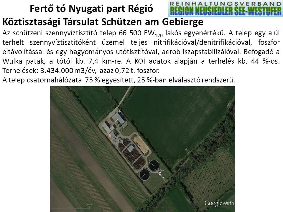 Fertő tó Nyugati part Régió Köztisztasági Társulat Schützen am Gebierge Az schützeni szennyvíztisztító telep 66 500 EW 120 lakós egyenértékű. A telep