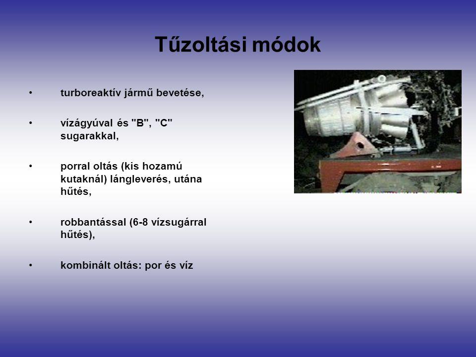 Tűzoltási módok turboreaktív jármű bevetése, vízágyúval és B , C sugarakkal, porral oltás (kis hozamú kutaknál) lángleverés, utána hűtés, robbantással (6-8 vízsugárral hűtés), kombinált oltás: por és víz