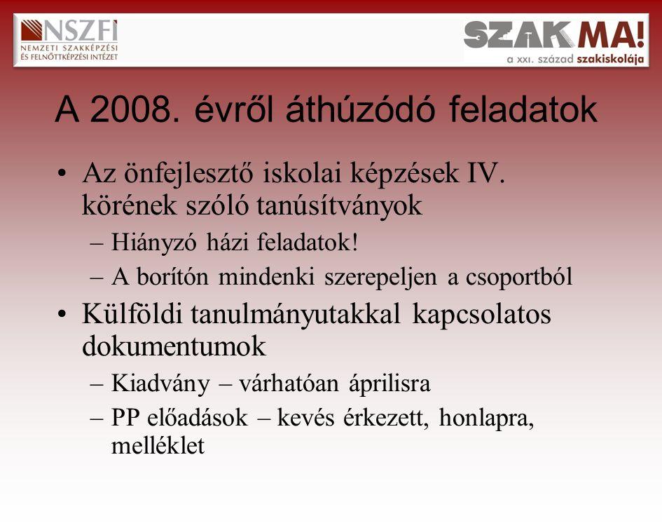Külföldi tanulmányutak Tervezett időpontok : –2009.