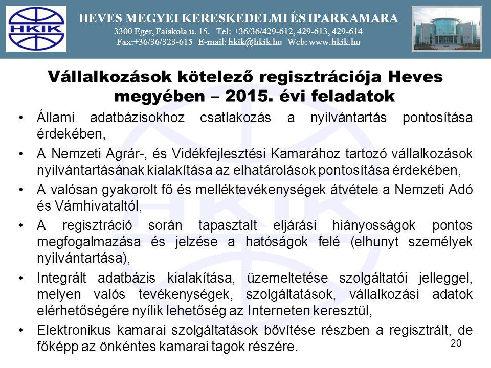 20 HEVES MEGYEI KERESKEDELMI ÉS IPARKAMARA 3300 Eger, Faiskola u.