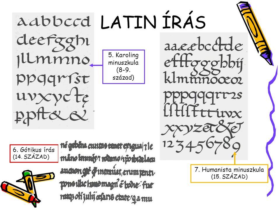 LATIN BETŰÍRÁS 2. Kapitális rusztika 3. Unciális 1. Monumentális 4. Római kurzív (7. század)