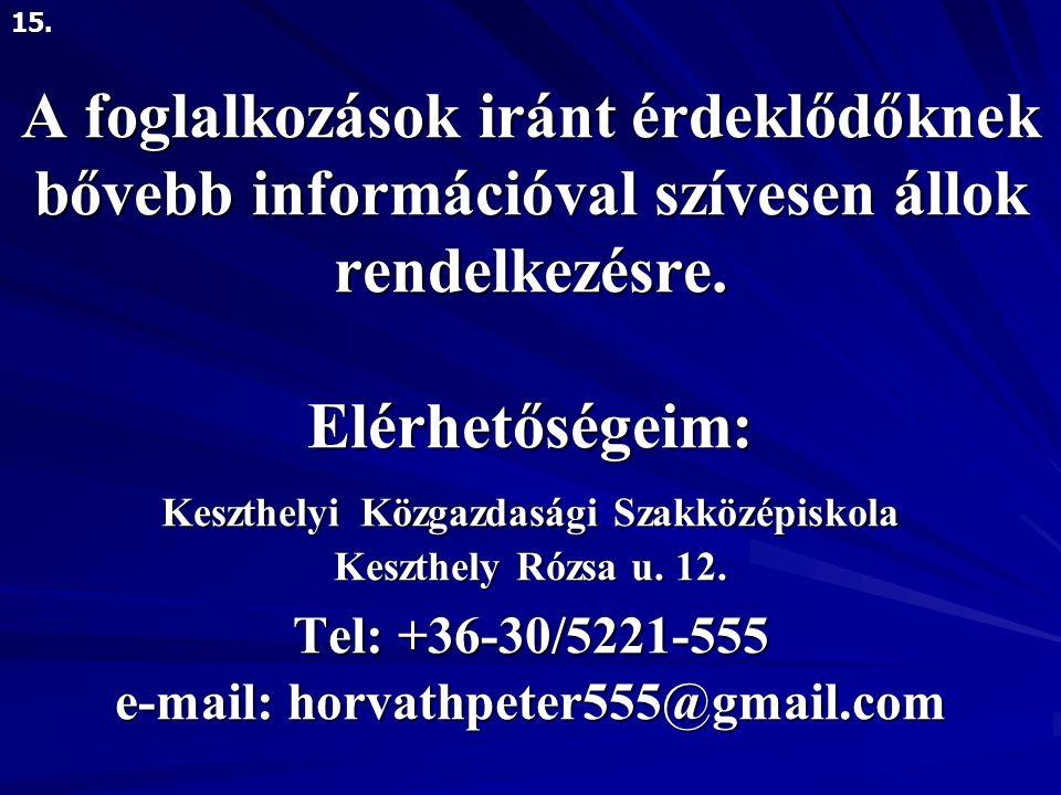 A foglalkozások iránt érdeklődőknek bővebb információval szívesen állok rendelkezésre.
