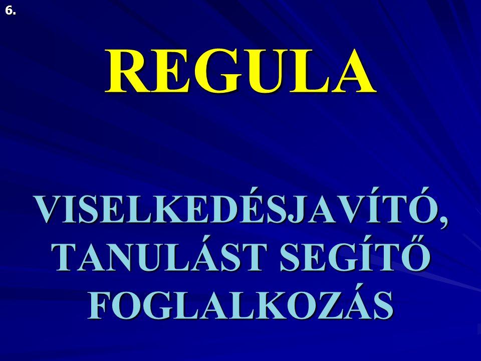REGULA VISELKEDÉSJAVÍTÓ, TANULÁST SEGÍTŐ FOGLALKOZÁS 6.