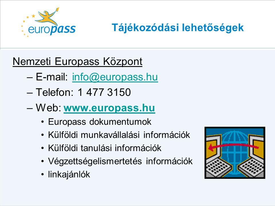 Tájékozódási lehetőségek Nemzeti Europass Központ –E-mail: info@europass.huinfo@europass.hu –Telefon: 1 477 3150 –Web: www.europass.huwww.europass.hu Europass dokumentumok Külföldi munkavállalási információk Külföldi tanulási információk Végzettségelismertetés információk linkajánlók