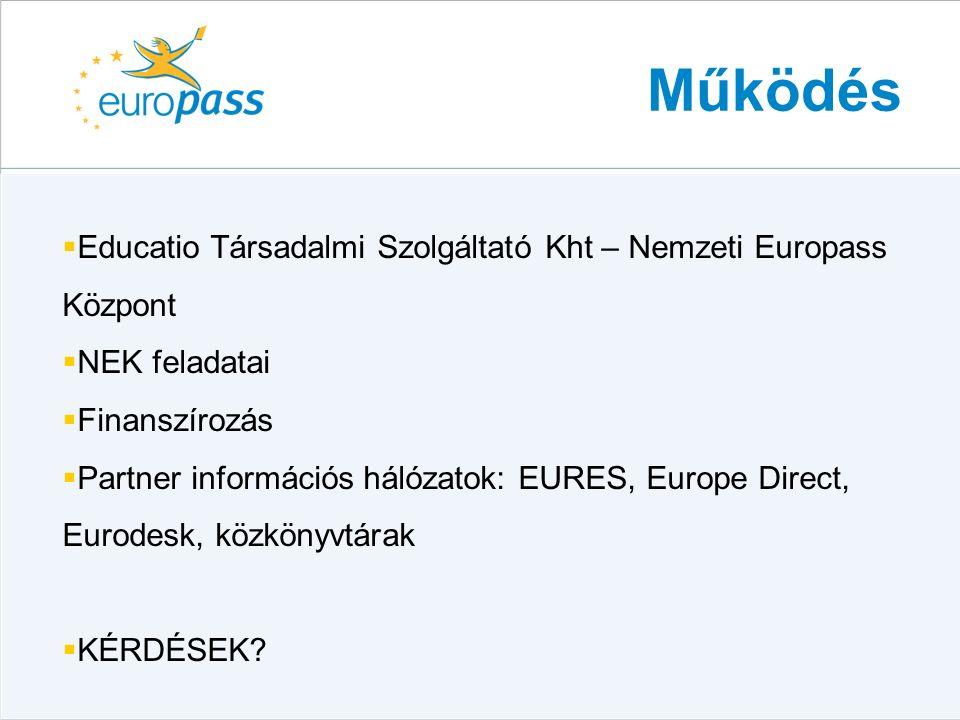 Működés  Educatio Társadalmi Szolgáltató Kht – Nemzeti Europass Központ  NEK feladatai  Finanszírozás  Partner információs hálózatok: EURES, Europe Direct, Eurodesk, közkönyvtárak  KÉRDÉSEK