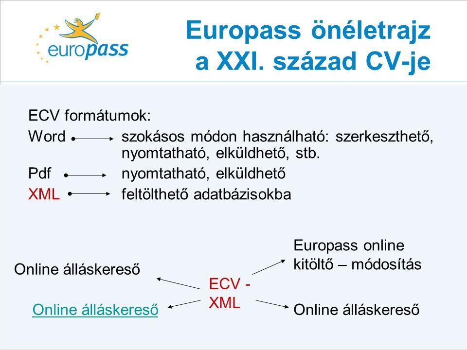 ECV formátumok: Word szokásos módon használható: szerkeszthető, nyomtatható, elküldhető, stb.
