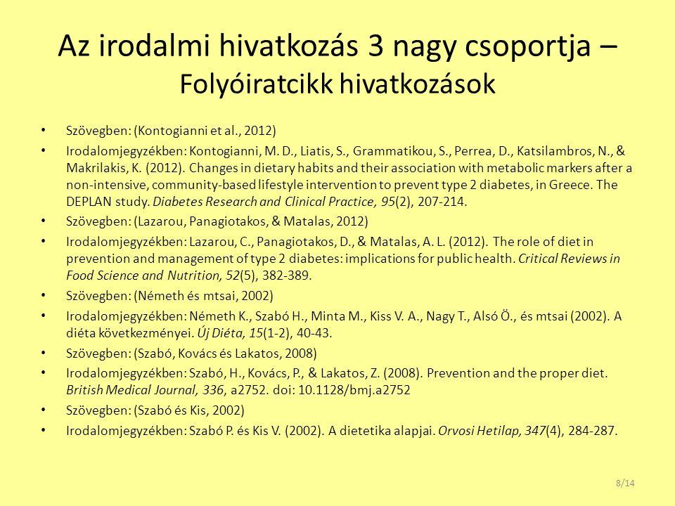 Az irodalmi hivatkozás 3 nagy csoportja – Folyóiratcikk hivatkozások Szövegben: (Kontogianni et al., 2012) Irodalomjegyzékben: Kontogianni, M. D., Lia