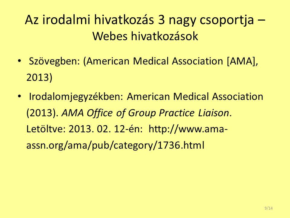 Az irodalmi hivatkozás 3 nagy csoportja – Webes hivatkozások Szövegben: (American Medical Association [AMA], 2013) Irodalomjegyzékben: American Medical Association (2013).