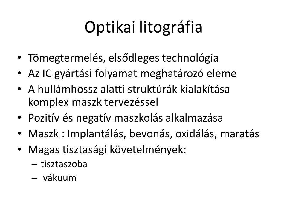 Optikai litográfia Tömegtermelés, elsődleges technológia Az IC gyártási folyamat meghatározó eleme A hullámhossz alatti struktúrák kialakítása komplex maszk tervezéssel Pozitív és negatív maszkolás alkalmazása Maszk : Implantálás, bevonás, oxidálás, maratás Magas tisztasági követelmények: – tisztaszoba – vákuum