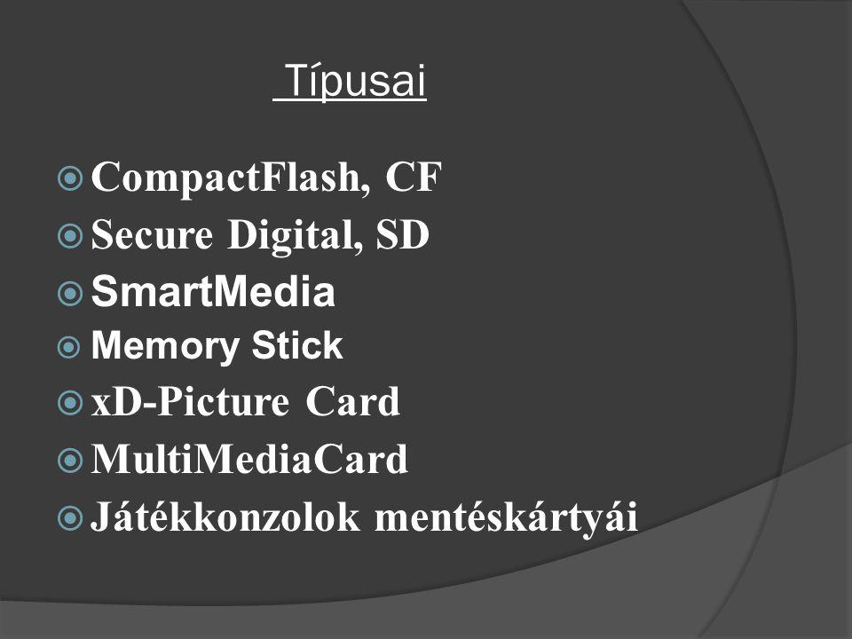 Típusai  CompactFlash, CF  Secure Digital, SD  SmartMedia  Memory Stick  xD-Picture Card  MultiMediaCard  Játékkonzolok mentéskártyái