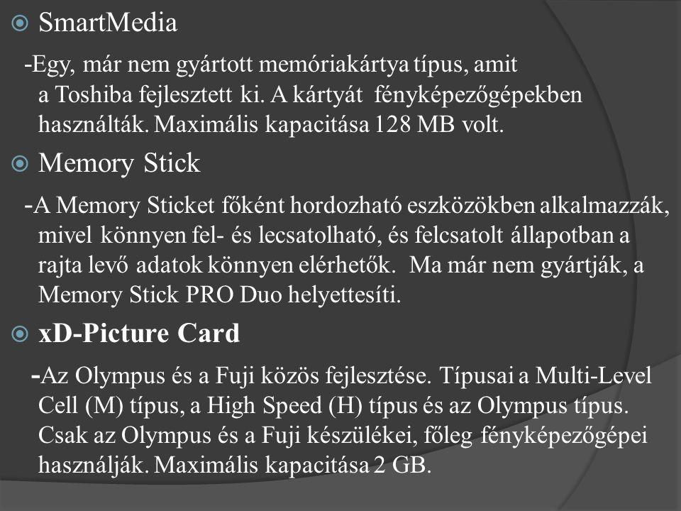  SmartMedia - Egy, már nem gyártott memóriakártya típus, amit a Toshiba fejlesztett ki. A kártyát fényképezőgépekben használták. Maximális kapacitása