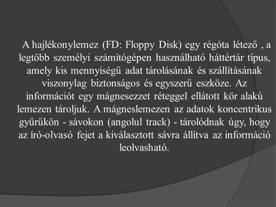 A hajlékonylemez (FD: Floppy Disk) egy régóta létező, a legtöbb személyi számítógépen használható háttértár típus, amely kis mennyiségű adat tárolásán