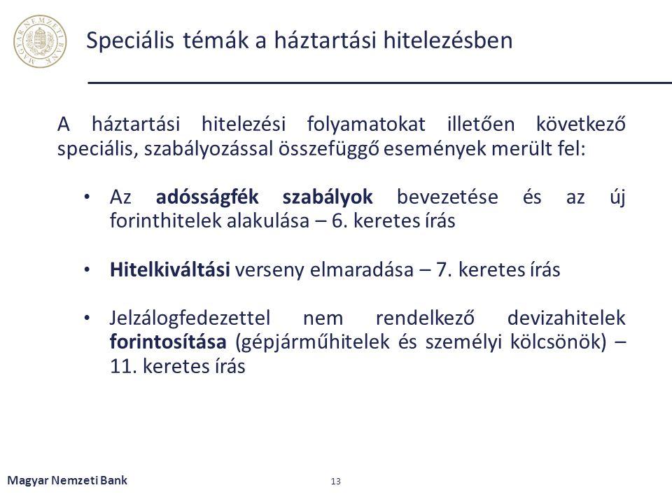 Speciális témák a háztartási hitelezésben Magyar Nemzeti Bank 13 A háztartási hitelezési folyamatokat illetően következő speciális, szabályozással összefüggő események merült fel: Az adósságfék szabályok bevezetése és az új forinthitelek alakulása – 6.