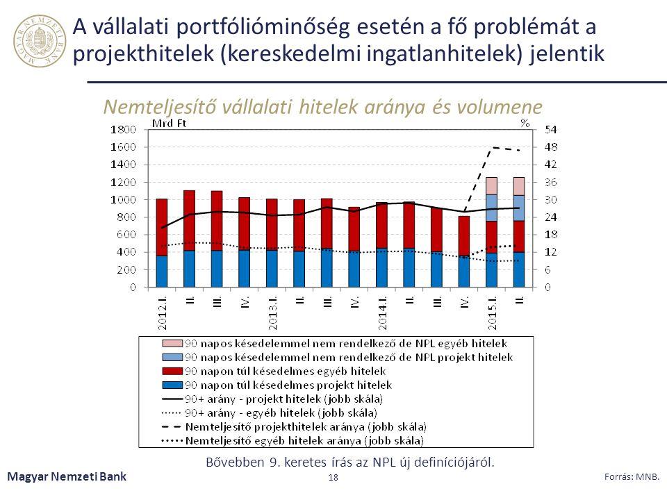 A vállalati portfólióminőség esetén a fő problémát a projekthitelek (kereskedelmi ingatlanhitelek) jelentik Nemteljesítő vállalati hitelek aránya és volumene Magyar Nemzeti Bank 18 Forrás: MNB.