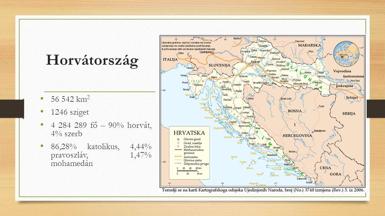 Horvátország 56 542 km 2 1246 sziget 4 284 289 fő – 90% horvát, 4% szerb 86,28% katolikus, 4,44% pravoszláv, 1,47% mohamedán