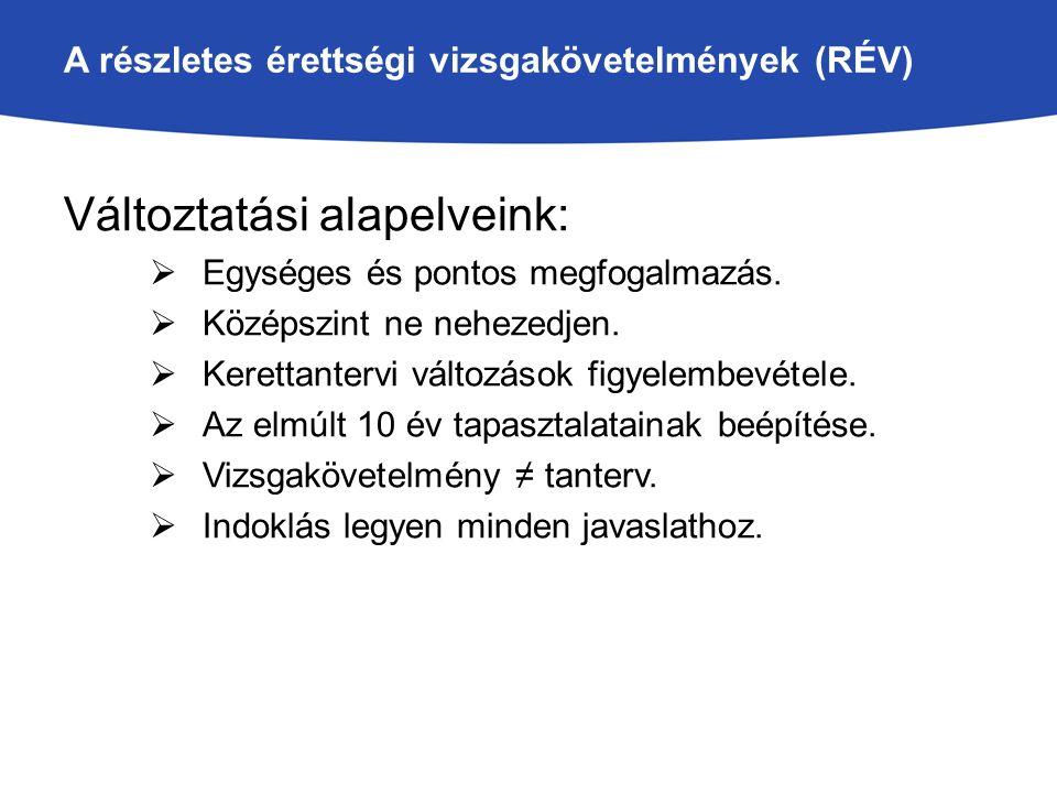 A részletes érettségi vizsgakövetelmények (RÉV) Változtatási alapelveink:  Egységes és pontos megfogalmazás.