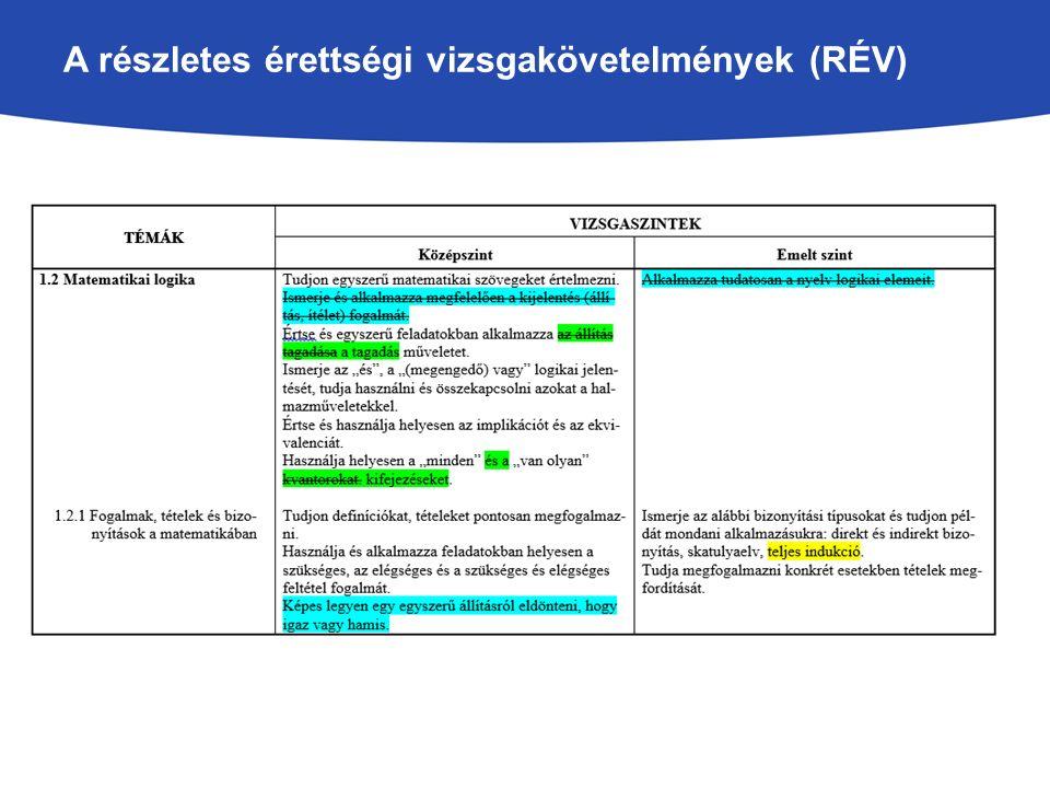 A részletes érettségi vizsgakövetelmények (RÉV)
