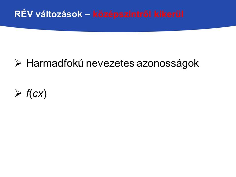 RÉV változások – középszintről kikerül  Harmadfokú nevezetes azonosságok  f(cx)