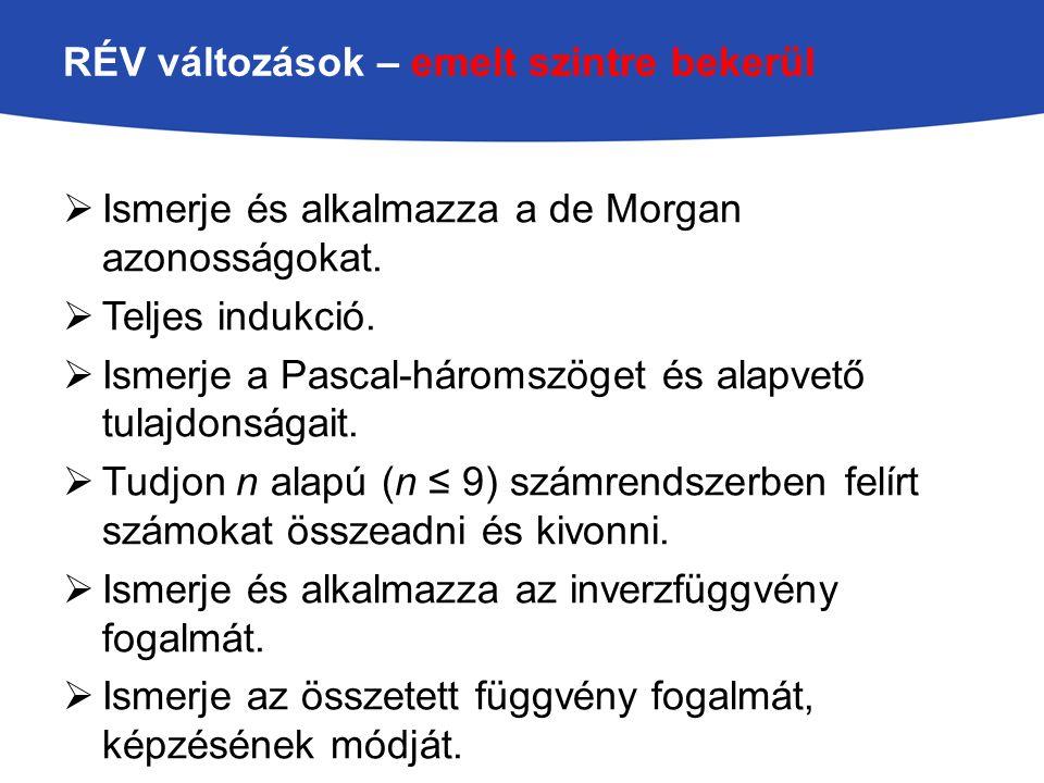 RÉV változások – emelt szintre bekerül  Ismerje és alkalmazza a de Morgan azonosságokat.