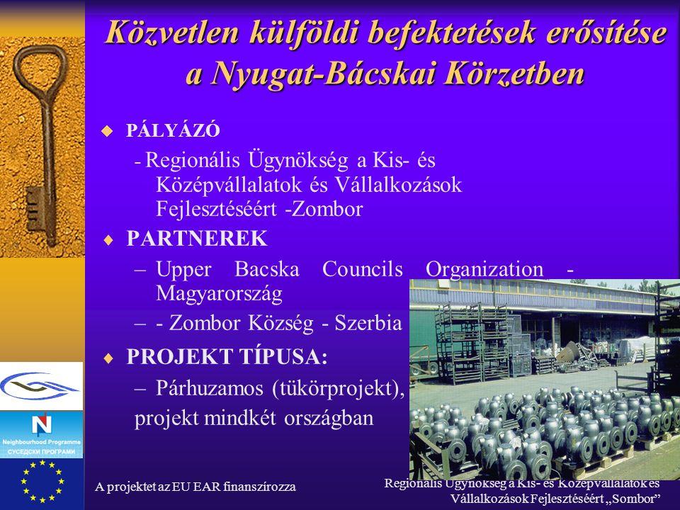 """A projektet az EU EAR finanszírozza Regionális Ügynökség a Kis- és Középvállalatok és Vállalkozások Fejlesztéséért """"Sombor Közvetlen külföldi befektetések erősítése a Nyugat-Bácskai Körzetben  PÁLYÁZÓ - Regionális Ügynökség a Kis- és Középvállalatok és Vállalkozások Fejlesztéséért -Zombor  PARTNEREK –Upper Bacska Councils Organization - Magyarország –- Zombor Község - Szerbia  PROJEKT TÍPUSA: –Párhuzamos (tükörprojekt), projekt mindkét országban"""
