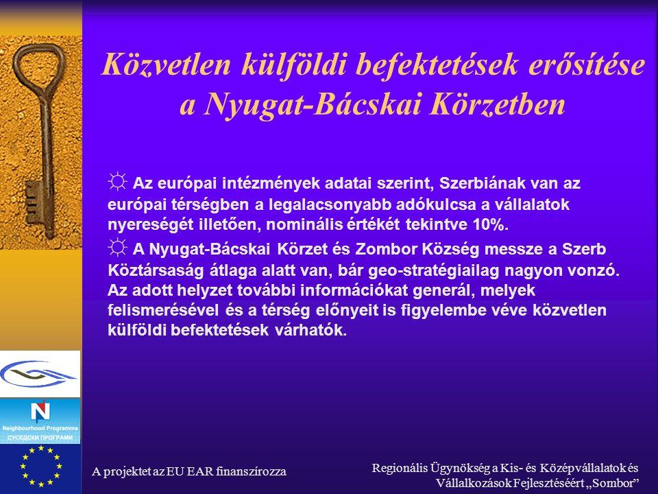 """A projektet az EU EAR finanszírozza Regionális Ügynökség a Kis- és Középvállalatok és Vállalkozások Fejlesztéséért """"Sombor Ipari övezet: Termelési komplexum Sombor Terület: 6000m2 (1980) Tulajdonos: a zombori Rade Končar üzem, jelenleg felszámolás alatt van Redeltetése: Berendezések gyártása, üzlethelyiség Infrastruktúra: valamennyi közmű, kivéve gáz, parkolási lehetőség a gyárudvaron belül Forrás: http://www.vip.org.yu"""