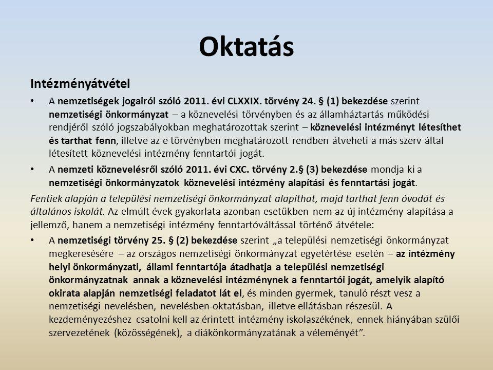 Oktatás Intézményátvétel A nemzetiségek jogairól szóló 2011.
