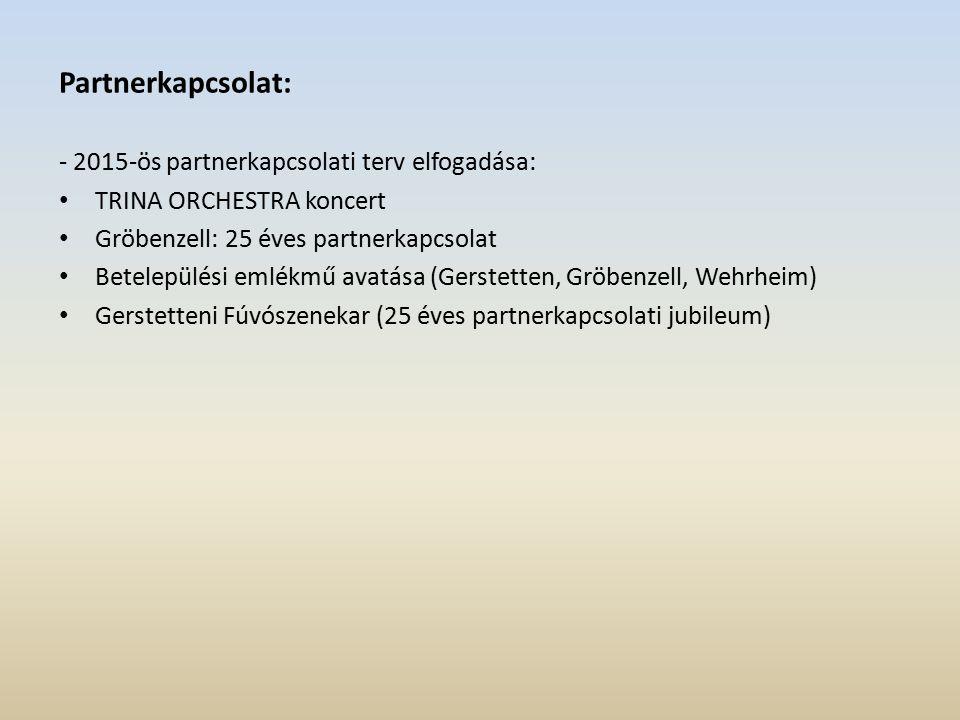 Partnerkapcsolat: - 2015-ös partnerkapcsolati terv elfogadása: TRINA ORCHESTRA koncert Gröbenzell: 25 éves partnerkapcsolat Betelepülési emlékmű avatása (Gerstetten, Gröbenzell, Wehrheim) Gerstetteni Fúvószenekar (25 éves partnerkapcsolati jubileum)