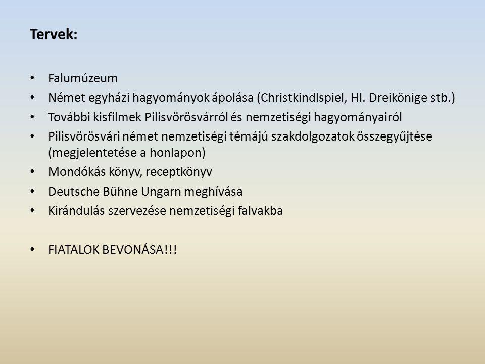 Tervek: Falumúzeum Német egyházi hagyományok ápolása (Christkindlspiel, Hl.