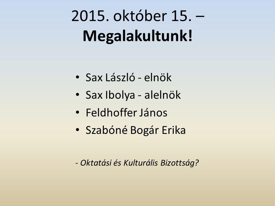 2015. október 15. – Megalakultunk.