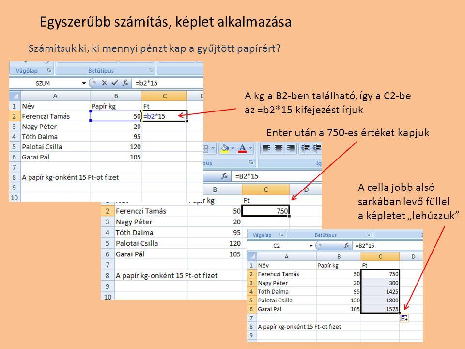 Egyszerűbb számítás, képlet alkalmazása Számítsuk ki, ki mennyi pénzt kap a gyűjtött papírért? A kg a B2-ben található, így a C2-be az =b2*15 kifejezé