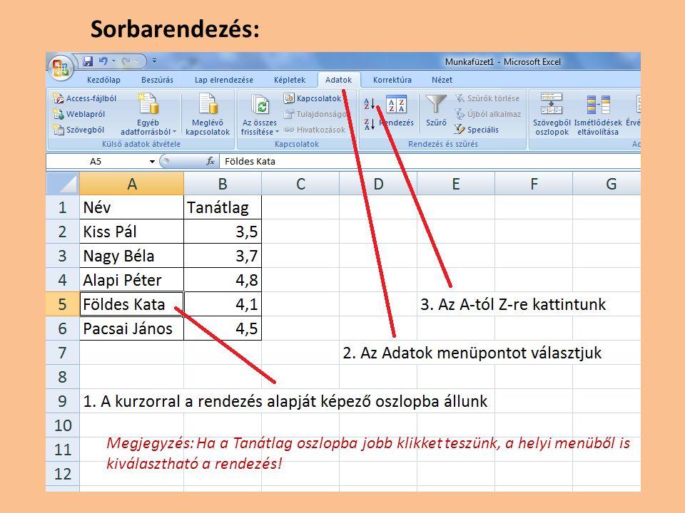 Összefoglalva: Az Exceltől főleg azt várjuk, hogy adataink rendezett táblában, könnyen kereshető formában álljanak rendelkezésre.