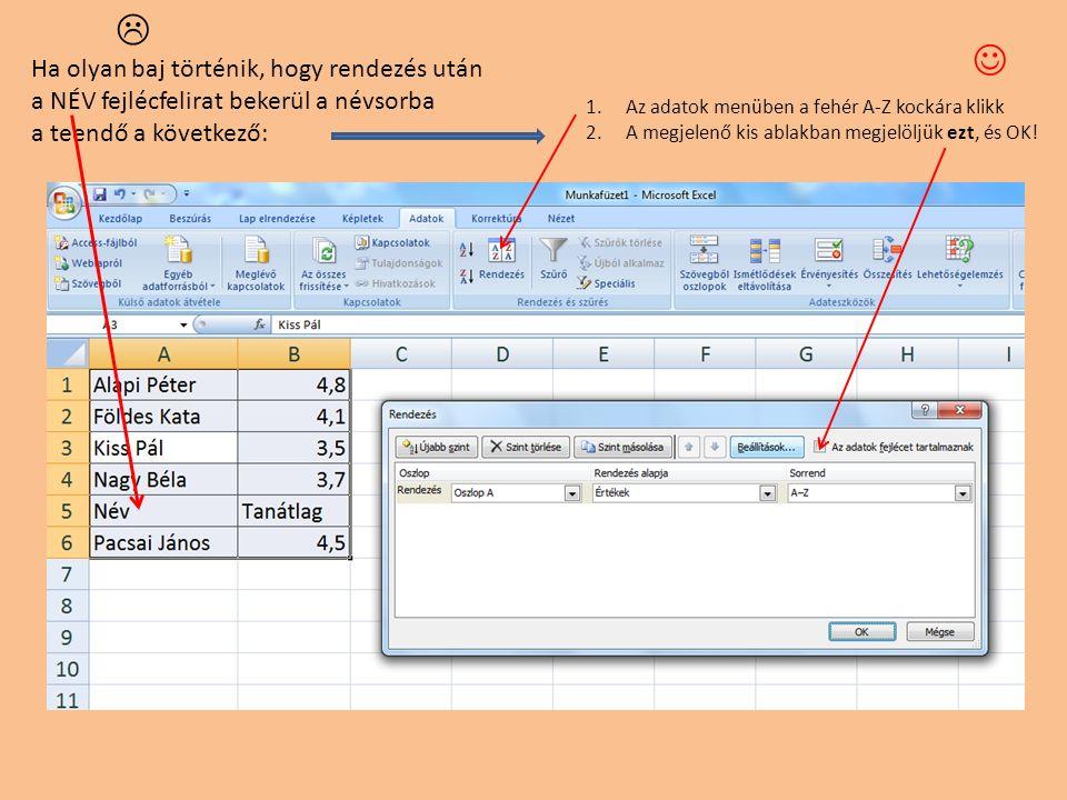 Ha olyan baj történik, hogy rendezés után a NÉV fejlécfelirat bekerül a névsorba a teendő a következő: 1.Az adatok menüben a fehér A-Z kockára klikk 2