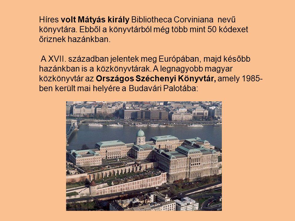 A könyvtárak típusai Nemzeti könyvtár (hazánkban ez az Országos Széchenyi Könyvtár).