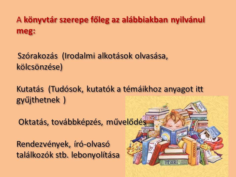 A könyvtár szerepe főleg az alábbiakban nyilvánul meg: Szórakozás (Irodalmi alkotások olvasása, kölcsönzése) Kutatás (Tudósok, kutatók a témáikhoz anyagot itt gyűjthetnek ) Oktatás, továbbképzés, művelődés Rendezvények, író-olvasó találkozók stb.