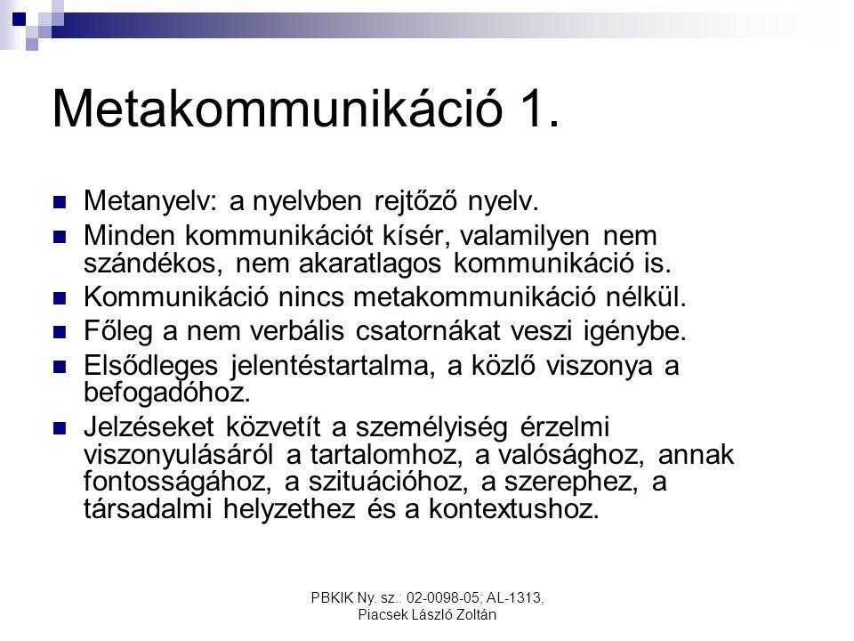 PBKIK Ny. sz.: 02-0098-05; AL-1313, Piacsek László Zoltán Metakommunikáció 1.