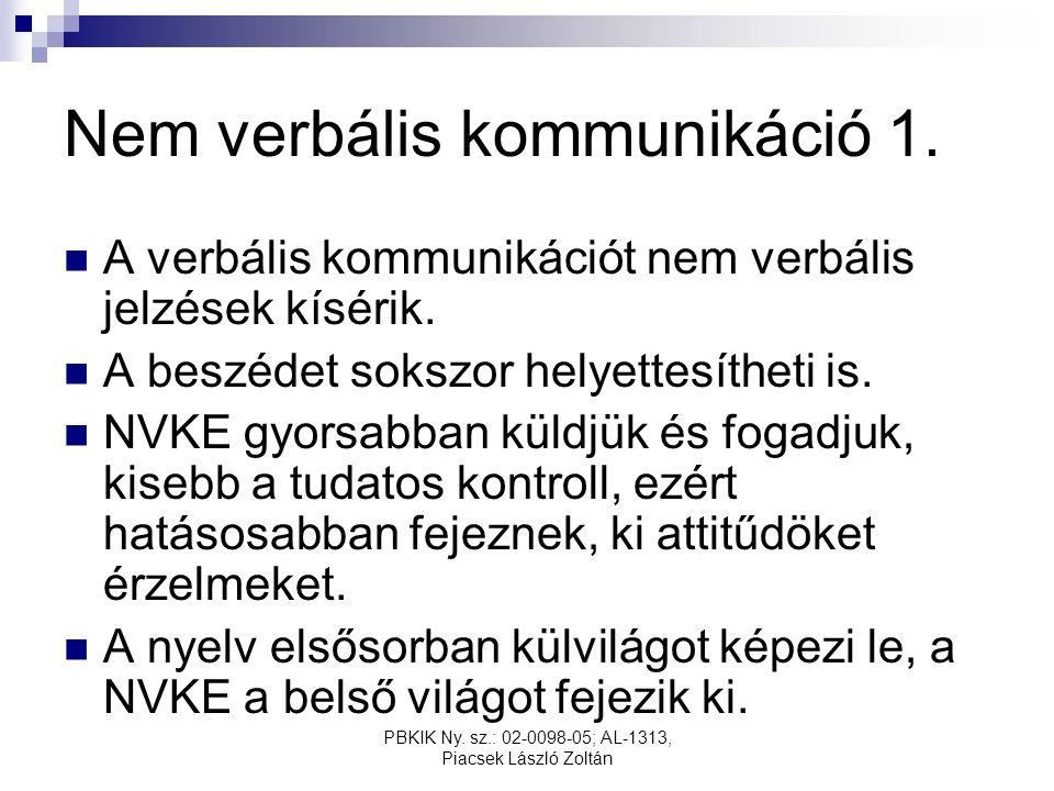 PBKIK Ny. sz.: 02-0098-05; AL-1313, Piacsek László Zoltán Nem verbális kommunikáció 1.