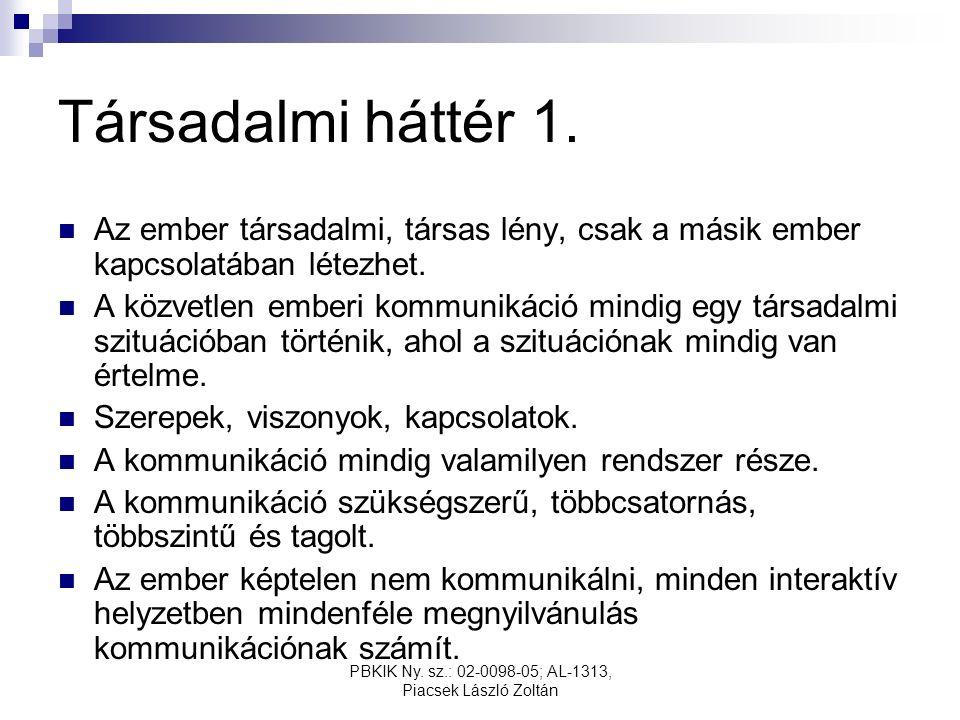 PBKIK Ny. sz.: 02-0098-05; AL-1313, Piacsek László Zoltán Társadalmi háttér 1.