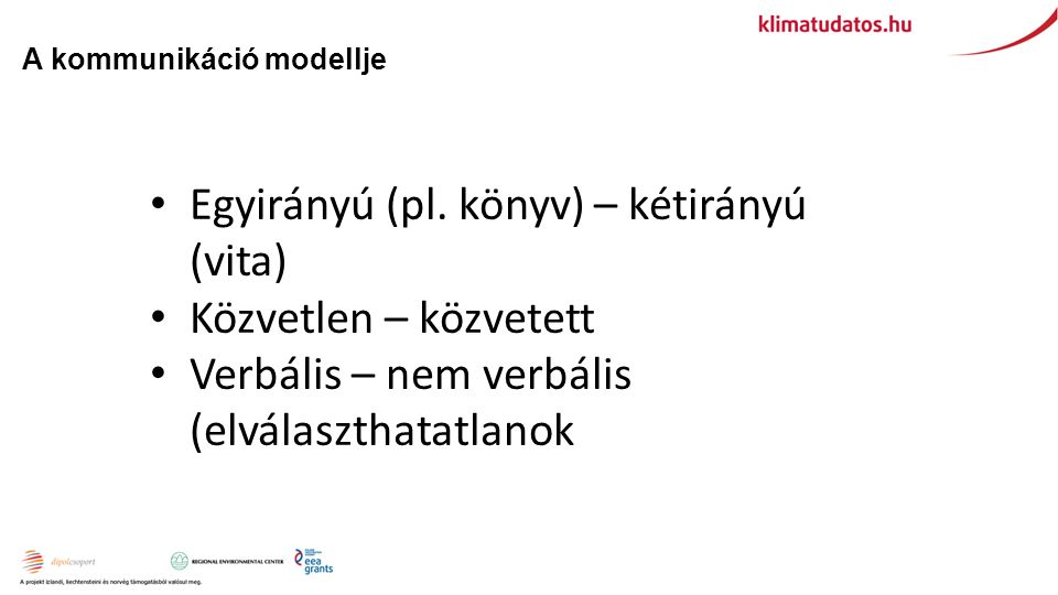 Egyirányú (pl. könyv) – kétirányú (vita) Közvetlen – közvetett Verbális – nem verbális (elválaszthatatlanok A kommunikáció modellje