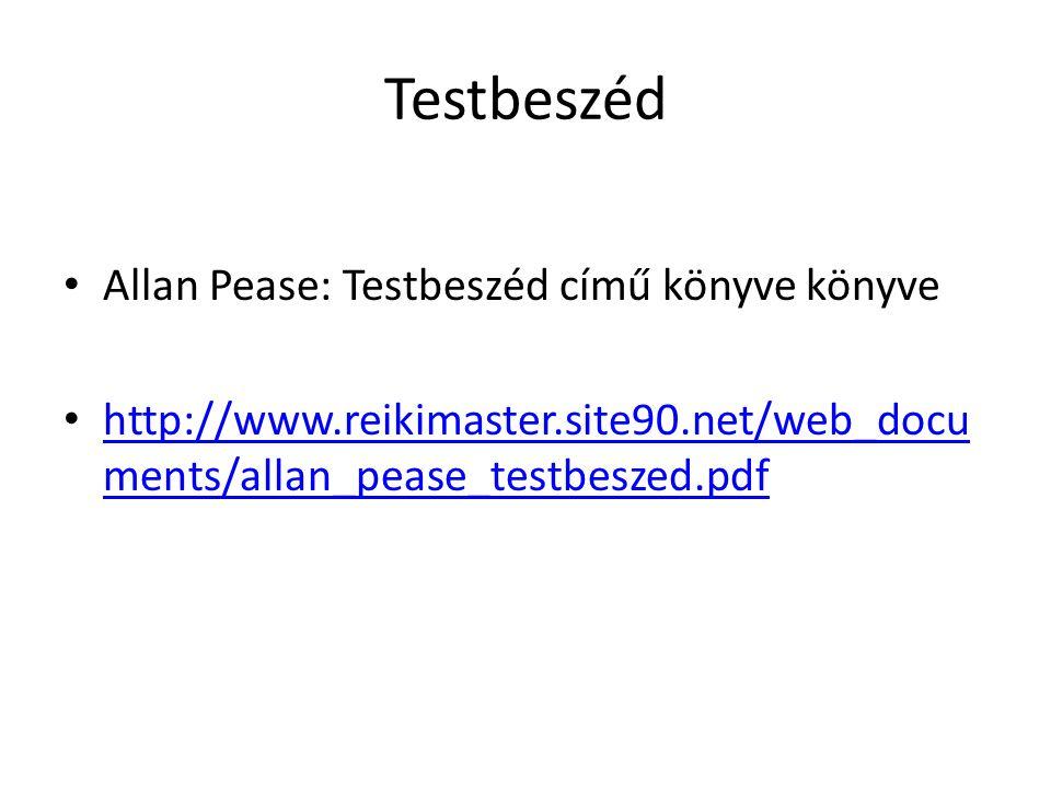 Testbeszéd Allan Pease: Testbeszéd című könyve könyve http://www.reikimaster.site90.net/web_docu ments/allan_pease_testbeszed.pdf http://www.reikimast